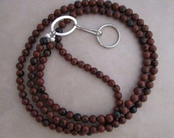 brown lanyard mahogany obsidian silver badge ID holder