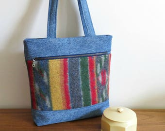 MADISON Tote in Navajo Pattern Sweater Wool and Denim, Eco Friendly, Upcycled Tote Bag