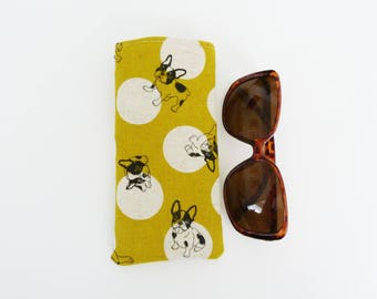 Glasses case, Boston Terrier fabric, French Bulldog fabric, novelty case