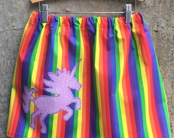 Rainbow Stripe Girls Cotton Skirt - Sizes for Toddler, Child and Big Kid - You Choose Appliquè or Pocket - Great Birthday Gift