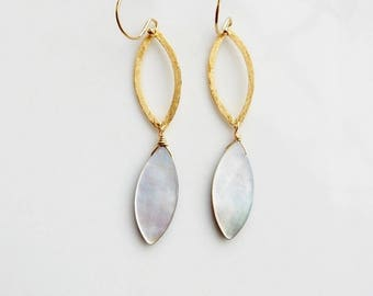 Gold mother of pearl marquise shape  earrings , bridal jewelry, dangling earrings, geometric earring