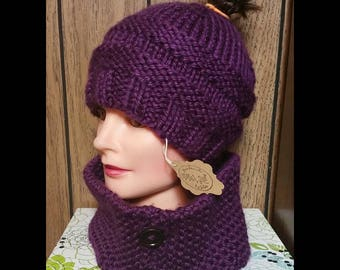 Knit Messy Bun Hat with Neck Warmer