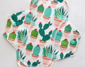 Menstrual Flannel Maxi Pad - 9.5 inch Reusable Eco Friendly Cotton Mama Cloths - Prickly Cactus Cacti Succulents Plants Glad Rags