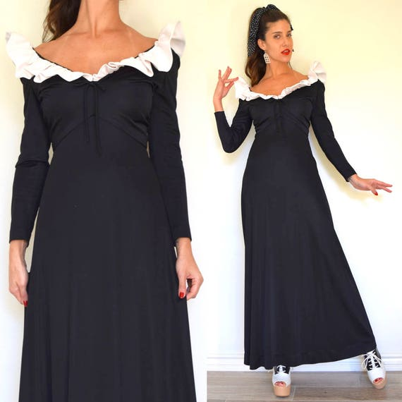 Vintage 60s 70s Black and White Ruffled Collar A Line Long Sleeved Maxi Dress (size xs, small)