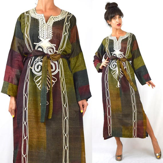 Vintage 60s 70s Striped Ombre Embroidered Tribal Caftan