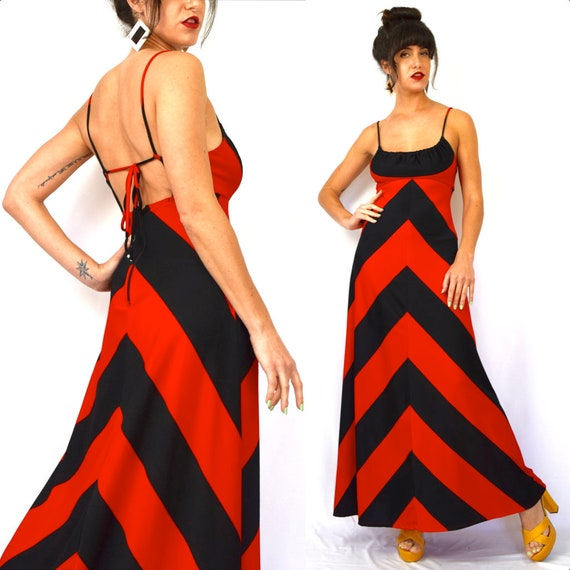 Vintage 70s Red and Black Chevron Striped Open Back A Line Maxi Dress (size small, medium)