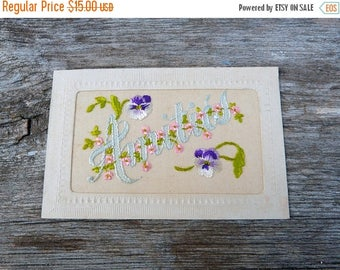 ON SALE Vintage Antique 1900/1910 French  postcard  hand embroidered organdi fabric  pansys Amitié /Friendship