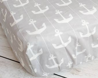 Anchor Fitted Crib Sheet - Nautical Crib Sheet - Gray Crib Sheet - Nautical Nursery Bedding - Grey Crib Sheet - Nautical Baby Gift Baby Boy