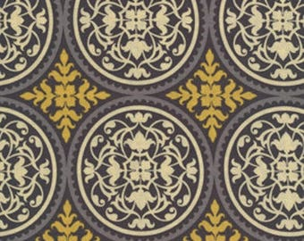 Joel Dewberry Fabric - Aviary 2, Scrollwork in Granite Grey Yellow, Cotton, Abstract - HALF YARD