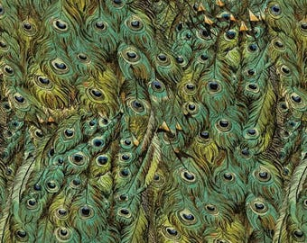 Peacock Feathers in Green, Fabric by David Textiles 100% Cotton,  by the yard