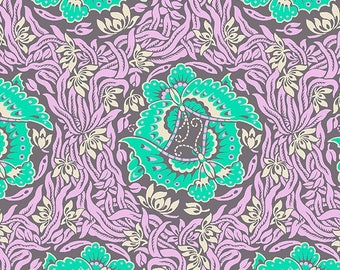 YARD - Amy Butler Fabric, Violette, Take Flight, Zinc, Floral, cotton quilting fabric