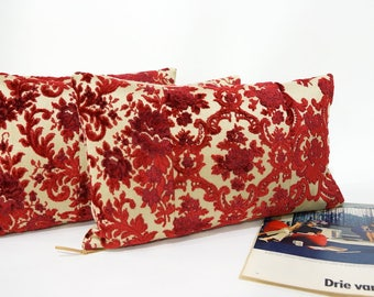 Luxury Lumbar Pillow, Red Cut Velvet,  Vintage Fabric Cushion Cover, Cottage Chic Home Decor Handmade by EllaOsix
