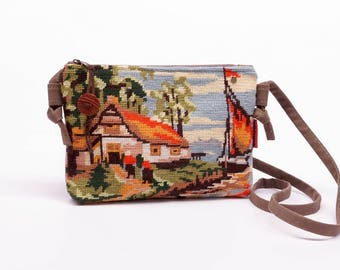 Small Crossbody Bag, Vintage Needlepoint Bag, Tapestry Cross Body purse, Vegan Shoulder Bag Handmade by EllaOsix