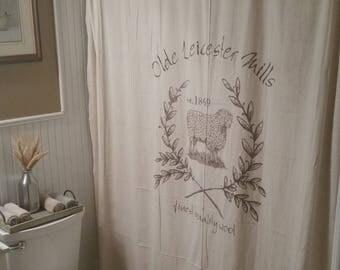 Custom Canvas Fabric Bath Shower Curtain   Primitive Country Farmhouse  Style   Hand Painted WOOL MILL