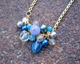 Eco-Friendly Curved Bar Necklace - Charmed I'm Sure - Recycled Vintage Foldover Chain, Glass Beads and Pearls in Blues, Greys and Clear
