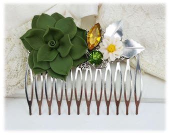 Succulent Hair Comb - Succulent Hair Piece, Succulent Wedding, Woodland Hair Comb