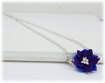 Tiny Purple Larkspur Necklace - Larkspur Jewelry, July Birthday Birth Flower