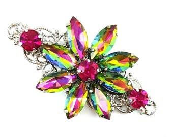 Iridescent Flower Rhinestone Hair Clip - Multicolor Floral Hair Clip, Colorful Rhinestone Hair Clip, Rainbow Crystal Clip