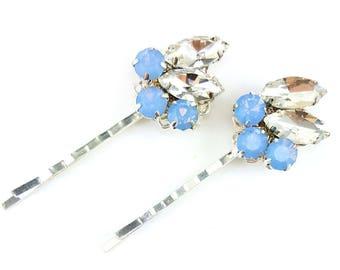 Pastel Blue Vintage Style Hair Pins - Blue Opal Rhinestone Bobby Pins, Opal Blue Hair Jewelry, Pastel Hair Ornaments