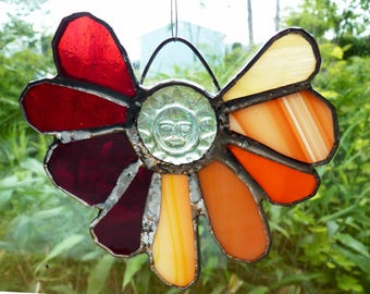 Stained Glass Flower Suncatcher Sunflower Ornament in Orange and Red - Sunscreen