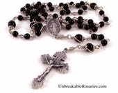 Miraculous Medal Virgin Mary Rosary Beads In Black Onyx With Pardon Crucifix by Unbreakable Rosaries