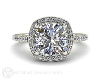 Cushion Moissanite Engagement Ring Forever One Moissanite Diamond Halo Moissanite Ring Conflict Free Custom Bridal Jewelry