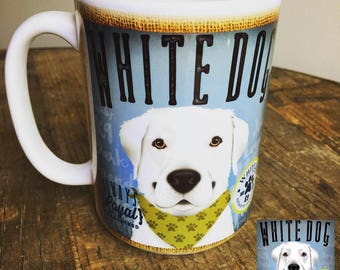 White dog Coffee company graphic art MUG 15 oz ceramic coffee mug