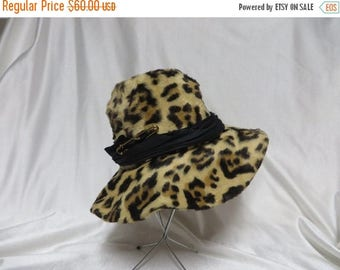 Solar Clearance Vintage 60s 1960s Ultimate Floppy hat FAUX Leopard low pile fur Adolfo Realites Hippy Hippie Boho Indie
