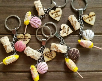 Chingona keychain wood heart chula cabrona elote concha tamal latina quote pink brown women mujer mother mom