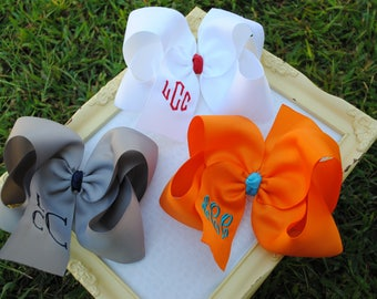 Set of (3) XLarge Monogrammed Boutique Style Hairbows - Jumbo Personalized Bows - 6 Inch Hairbow with Initial - Big Monogrammed Hair Bows XL