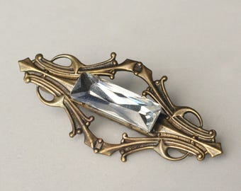 Art nouveau hair clip bronze barrette jewel crystal rhinestone bridal wedding hair jewelry vintage style glamour old Hollywood art deco