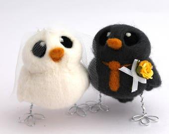 Bird Wedding Cake Topper in Slate Grey and Golden Yellow Wedding Bride and Groom Needle Felted Birds