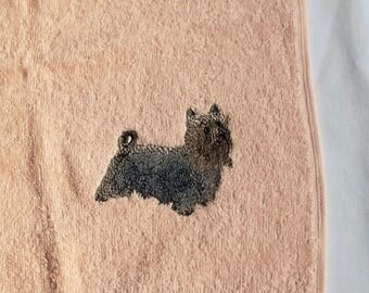 Silky terrier Dog Face Cloth, Embroidered Towel, Dog Gift,