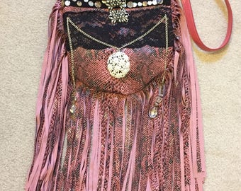 Handmade Purse Pink Faux Snakeskin Crossbody Boho Shoulder Bag Fringe Hippie Bohemian Gypsy