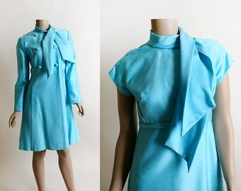 Vintage 1960s Dress & Coat - Emma Domb Jackie O Style Aquamarine Blue Swinging 60s Dress Jacket - Ascot Wrap - Double Breasted - Small