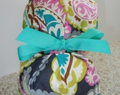 Turn Up Ponytail Surgical Scrub Hat in Paisley Dream CHOOSE RIBBON COLOR