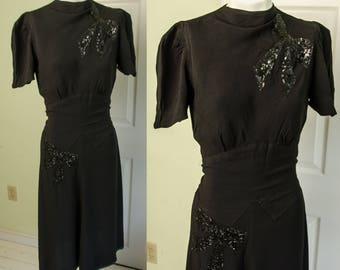 Vintage 1930's Woman's Black Dress with Sequin Bows Fashion Originator