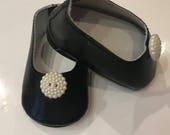 Girl Doll Shoes, Black Doll Shoes, 18 inch doll shoes, doll accessories, White button Shoes, Black ballet flats