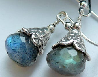 Handcrafted Artisan Labradorite Sterling Silver OOAK Boho Gothic Punk Victorian Edwardian Penny Dreadful Wiccan Pagan Dainty Earrings