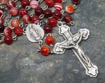 Red Banded Agate Gemstone Rosary; Red Rosary; Agate Rosary; Miraculous Medal; Marian Rosary; Men's Rosary; 5 Decade Rosary; Catholic Rosary