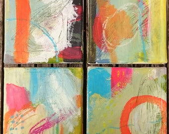 Set of 4 mini canvases, original abstract art