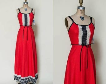 20% OFF 1970s Gay Gibson Dress --- Vintage Red Maxi Dress