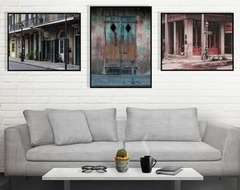 Collection of 3 Prints, New Orleans Photography, French Quarter Photo Set, Art Collection, Living Room Decor, NOLA, Instant Wall Decor
