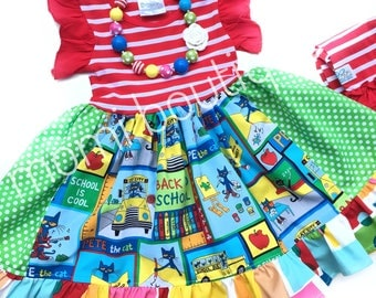Pete the Cat dress Back to School dress girls toddler birthday party dress clothing Momi boutique custom dress