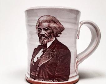 Handmade mug featuring Frederick Douglass