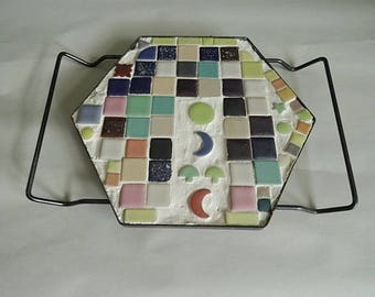 Midcentury Mosaic Small Tile Trivet with Handles Hot Plate Mushrooms and Moon Stars