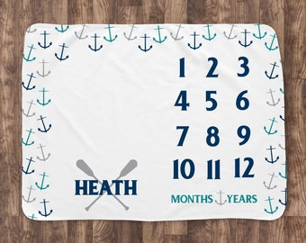 Baby Month Milestone Blanket- Scatter Anchors Nautical - Personalized Baby Blanket - Track Growth and Age - New Mom Baby Shower Gift  30x40