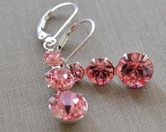 ON SALE Pink Swarovski Earrings, Chandelier Sterling Silver, Pink Crystal Lever Back Earrings, Bridesmaids Earrings