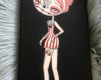Cotton Candy pinup Tattoo Wall Art ---Tattooed sugarskull Girl original painting  6 x 12