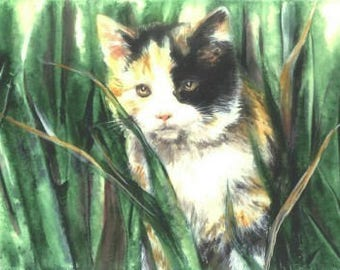 Limited Edition Print with Double Mat - Calico Cat - Calico Kitten - Cat Art - Cat Painting - Animal Art - Pets - Nursery Art